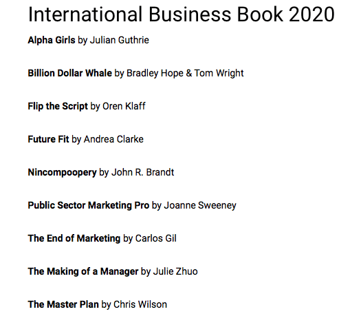 Best International Business Book 2020 Shortlist