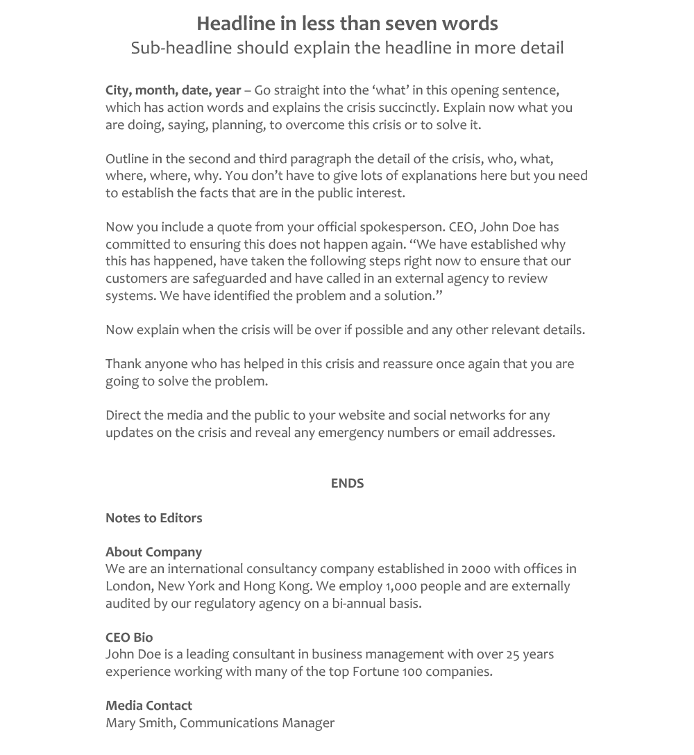 PR Crisis Press Release Template